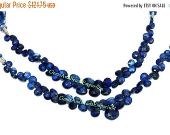 55% OFF SALE 1/2 Strand - Rare Finest Quality Natural Deep Inky Blue Kyanite Faceted Heart Briolettes Size 5 - 8mm - Gemstone Briolette 03