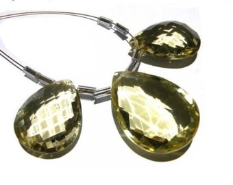 3 Piece Set AAA Lemon Quartz faceted pear briolettes Size 25x17 - 20x15mm matched pair and a focal pendant