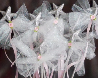 Party Favor Wands - 6 with White Glittered Tulle