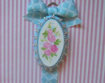 REDUCED- Hair Bow Holder Shabby Chic Pink and Turquoise