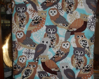 Owls Owl Tote Bag Snowflakes Wildlife Handmade Purse Limited