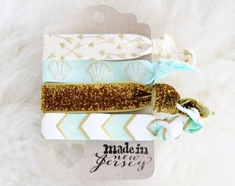 Mermaid Glam Gold Glitter Arrow and Chevron Print Hair Tie Set