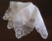 White Linen and Net Lace Hanky, Floral Detail,  Bridal Party Accessories - Vintage Hanky