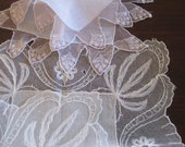Ivory and Champagne Linen and Net Lace Hankies, Bridal Party Accessories - 2 Vintage Hankies