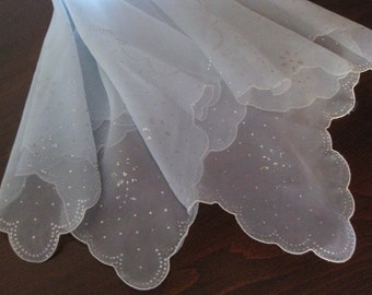 1950s Vintage Scarf  Organdy, Sheer Baby Blue with Silver Embellishments - Retro Fashion