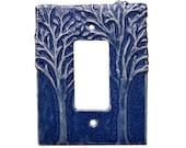 Trees Ceramic Single Rocker Switch Plate  in Sapphire Blue Glaze