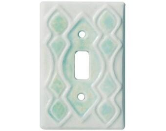 Moroccan Single Toggle Light Switch Cover in White Agate Glaze