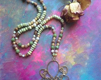 Roses and Moss OOAK Gemstone necklace