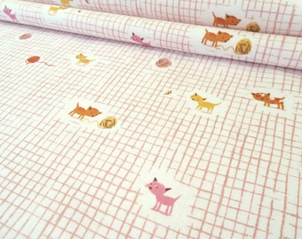 SALE -- Pink Tiger Lily Cat - Heather Ross for Windham Fabric - 40929 - Cotton Fabric