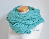 Lace knitted shawl, turquoise, aqua, blue,  N371