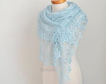 Lace knitted shawl with crochet trim, Light blue, N374