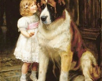 """SAINT BERNARD Dog Vintage Art called """"Confidential"""" on ONE 16 inch square Fabric Panel for Quilting and Sewing"""