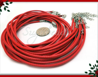 10 Red Necklace Cords  - Red Finished Necklace Cords 17.5 inches 19 with Extender