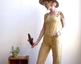 Lace Jumpsuit in yellow, bell bottom lace overalls, Bohemian overalls, Lace Romper, Lace Romper