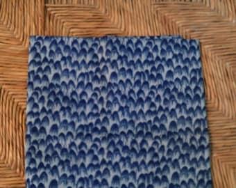 1/2 Yard  Cotton  Quilt Fabric  Dark Blue on Light Blue