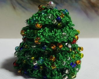 Miniature Doll House Fairy Garden Christmas Tree in Crochet Finished Tree in Green