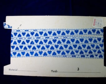 Vintage Embroidered Sewing Trim . White with Blue Hearts . 3 Yards
