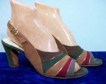 Vintage 40s 50s Shoes . Peep Toe Sling Back Chunky Heels . Striped Fall Colors Brushed Leather Shoes