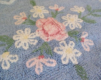 Vintage Cotton Chenille Rug Mat Bath Bed Pink Floral on Blue - Shabby Cottage Chic