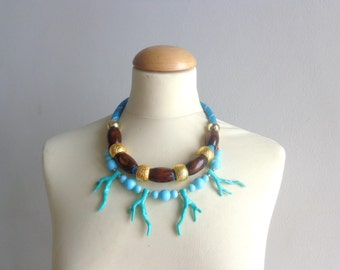 Turquoise white Statement necklace, multi strand necklace coral branch necklace