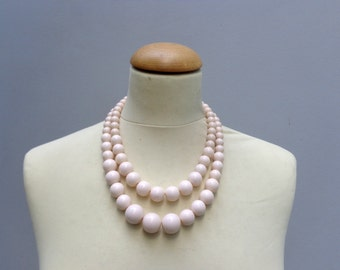 Cream Statement necklace, multi strand necklace