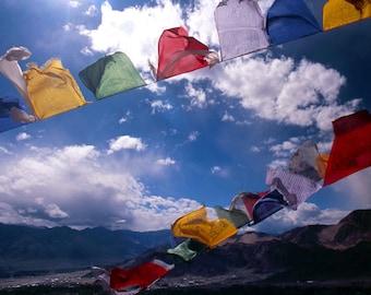 Tibetan Prayer Flags - Ladakh II - 5x7 print in 8x10 mat, ladakh photography, fine art photograph, buddhist wall art, meditation art, yoga
