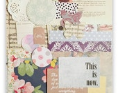 Paper and Ephemera Pack Vintage Floral, Scrapbook, Art Journal, Collage