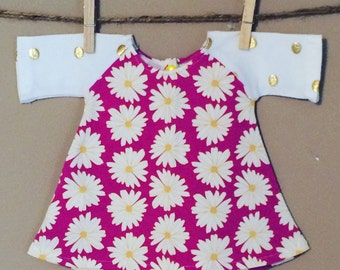 """shortees wee knockout dress for 18"""" american doll - daisies and dots - raglan baseball sleeves - matching girl dress available"""