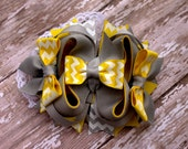 Yellow and Grey Chevron Small OTT Boutique Hairbow for infant or girls with Choice of clip or headband