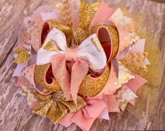 Pink and Gold Boutique OTT hairbow infant girls toddlers