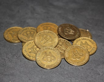 14 Circulated Canadian Bridge Tokens - Jewelry Supply, Old Tokens