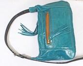 Teal Blue Genuine Leather Shoulder Bag Purse