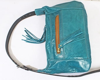 Teal Blue Genuine Leather Shoulder Bag Purse