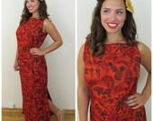 70s Talima of Hawaii Red Hawaiian Sheath Column Maxi Dress, Size Medium to Large