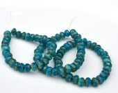 Peacock Picasso 5x3mm Faceted Rondelle Czech Glass Beads  30