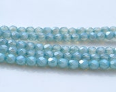 Pale Watery Sky Blue 5mm czech glass Faceted Fire polish round beads  25