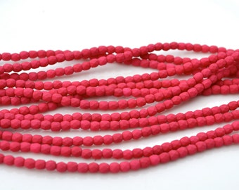 Saturated Fuschia 3mm Faceted Fire Polish Round Beads  50