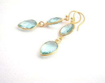 Aquamarine Dangle Earrings, Aqua Blue, Gold, Dangle Earrings