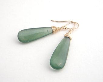 Moss Aquamarine Teardrop Earrings, Gold, Wire Wrapped, Moss Green, Dangle Earrings