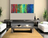 Abstract painting Original artwork, red blue yellow green brown wall art mixed large canvas art home office décor impasto by qiqigallery