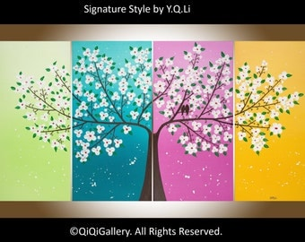 "Rainbow color art contemporary Landscape wall art Palette Knife white flowers Tree Birds painting canvas art Wall Hangings ""Spring Romance"""