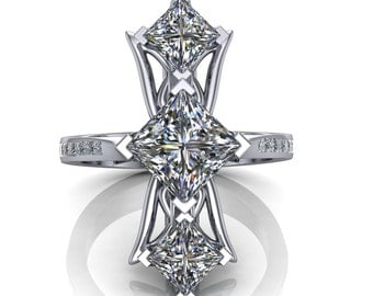 Diamond Luxury Art Ring, Red Carpet Fashion in Platinum or Gold