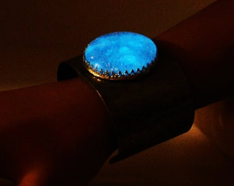 Glow in the dark, dichroic glass, stainless steel, etched cuff, halloween, novelty, statement, gift