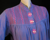 Vintage 60s Hippie Dress M Purple and Pink hand embroidered Smock