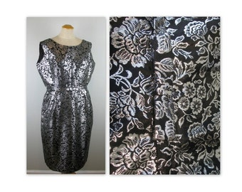 Vintage 60s Cocktail Dress Sheath in a metallic silver and black brocade L XL (estimated)