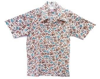 New Vintage 70s Shirt Unworn Pointy Collar Blue Brown Floral Print Short Sleeve Cotton Polyester 14 Neck Size Small Teen Mens Put-On Shop