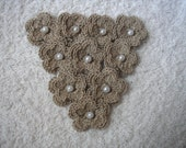 Crochet Flowers set of 10 double layered in cement with White Faux Pearls