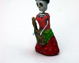 Day of the Dead matchbox shrine figure  guitar player