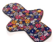 """Reusable Cloth Menstrual pad- 8 inch LIGHT flow pantyliner-bamboo/organic cotton core- Windpro - cotton flannel in """"Retro Floral"""""""""""