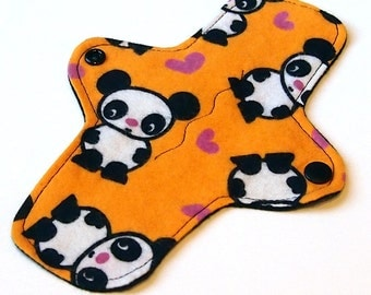 """Reusable Cloth winged ULTRATHIN Pantyliner - 8 Inch in """"Orange Panda"""" - Cotton Flannel top"""